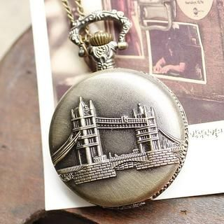 Miss Girl - Embossed London Bridge Pocket Watch