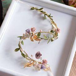 Ashmi - Bridal Flower Faux Pearl Hair Band