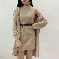 Octavia - Set: Sleeveless Knit Dress + Long Cardigan