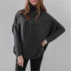 PEPER - Turtle-Neck Drop-Shoulder Knit Top