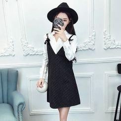 Cerulean - Set: Shirt + Striped Dress