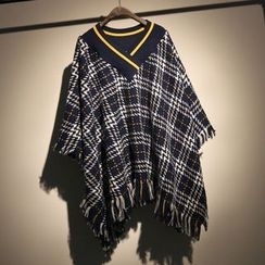 somniaa - Fringed Plaid Knit Cape