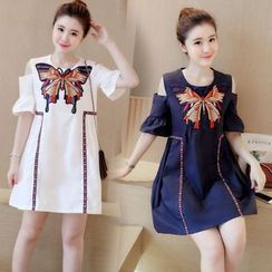 EFO - Short-Sleeve Cutout-Shoulder Paneled Dress