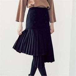 MAGJAY - Flap-Front Pleated Asymmetric-Hem Skirt