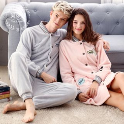Mydream - Couple Matching Applique Pajama Top + Pants / Nightdress