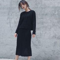 Moon City - Set: Rib Knit Sweater + Knit Midi Skirt