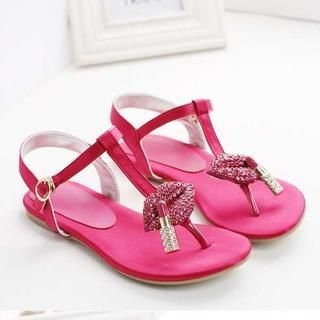 Pangmama - Genuine Leather Rhinestone Lip Thong Sandals