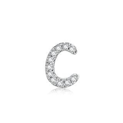 MBLife.com - Left Right Accessory - 9K White Gold Initial 'C' Pave Diamond Single Stud Earring (0.02cttw)