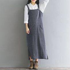 Fashion Street - Striped Maxi Pinafore Dress