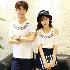 Tabula Rasa - Couple Matching Letter T-shirt / Cutout Shoulder T-shirt