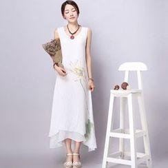 Diosa - Floral Print Linen-blend Sleeveless Dress