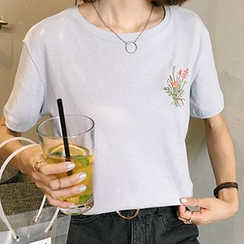 Glen Glam - Embroidered Short-Sleeve T-shirt