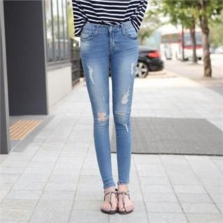 iam-girl - Distressed Skinny Jeans