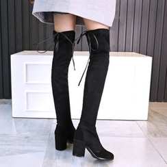 JY Shoes - Over-the-Knee Chunky Heel Boots