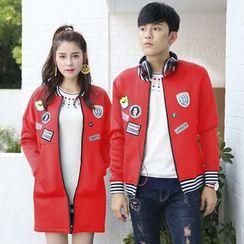 Igsoo - Couple Matching Applique Fleece-lined Baseball Jacket