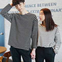 Dute - Long-Sleeve Striped Couple T-Shirt