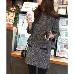 Dowisi - Set: Tweed Long-Sleeve Top + Tweed Skirt