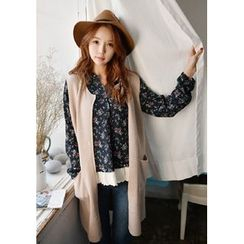 GOROKE - Dip-Back Open-Front Long Knit Vest