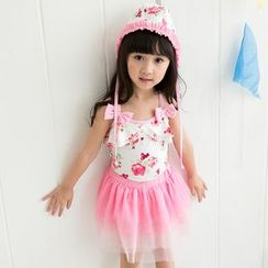 Mermaid's Tale - Kids Set: Floral Swimsuit + Swim Hat + Skirt