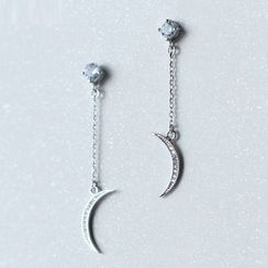 A'ROCH - 925 Sterling Silver Crescent Drop Earrings