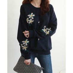 NIPONJJUYA - Round-Neck Flower Embroidered Sweatshirt