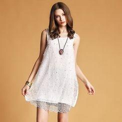 歐依潮派 - 無袖飾蝶結飾花珠珠連衣裙