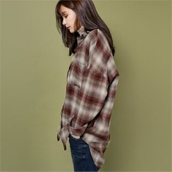 Styleberry - Pocket-Front Plaid Shirt