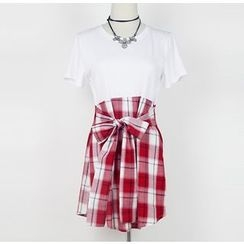 AIGIL - Mock Two-piece Bow Plaid Short-Sleeve Dress