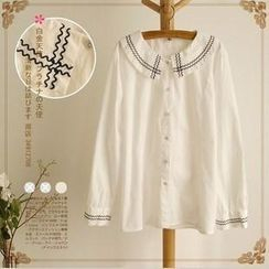 Rosadame - 刺繡娃娃領襯衫