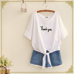 Fairyland - 'Thank You' Knotted Hem T-Shirt