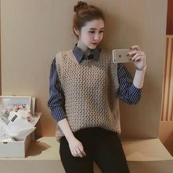 Mida - Set : Pinstripe Long-Sleeve Blouse + Knit Vest