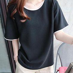 Queen Bee - Contrast Trim Short Sleeves T-Shirt