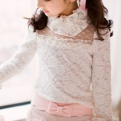 Candy Rain - Kids Faux Pearl Lace Long Sleeve Top
