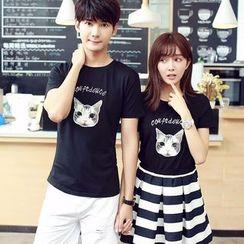 Evolu Fashion - Coupe Matching Cat Print Short-Sleeve T-Shirt