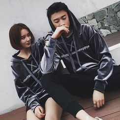 Evolu Fashion - Coupe Matching Lettering Velvet Hoodie