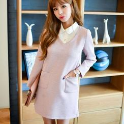 Dowisi - Long Sleeve Mock Two-Piece Collared Dress