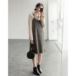 UPTOWNHOLIC - Checked Wool Suspender Dress