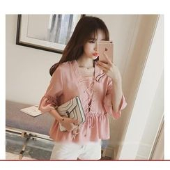 YOSH - Lace Up Front Elbow Sleeve Top
