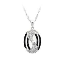 BELEC - 925 Sterling Silver Oval Pendant with Black and White Cubic Zircon and Necklace