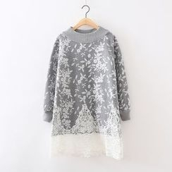 ninna nanna - Flower Embroidered Lace Hem Long Sweater