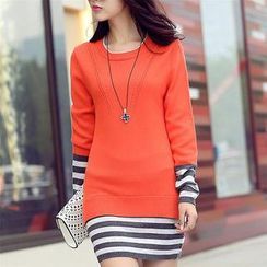 anzoveve - Mock Two-Piece Striped Knit Dress