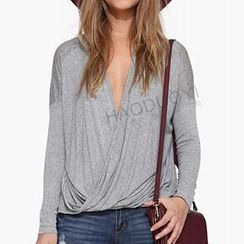 Obel - Long-Sleeve Drapped Wrap Top
