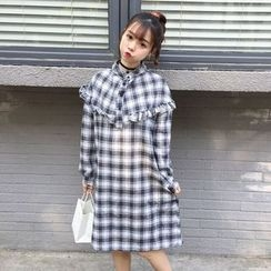 Dute - Long-Sleeve Plaid Jumper Dress