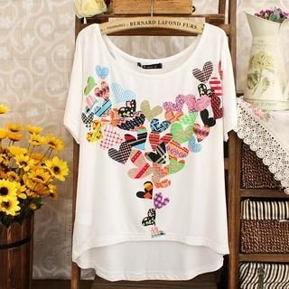 LULUS - Short-Sleeve Heart-Print T-Shirt