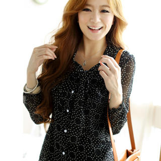 Tokyo Fashion - Bow-Neck Frilled Dotted Blouse
