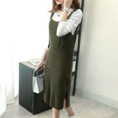 Shandie - Maternity Set: Knit Top + Slit-Side Knit Jumper Dress
