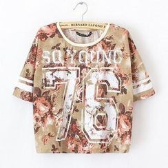 JVL - Short-Sleeve Floral Cropped T-Shirt