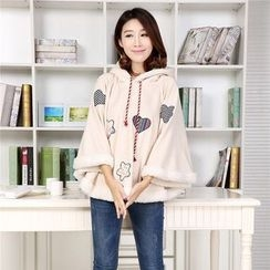 YR Fashion - Heart Applique Hooded Cape
