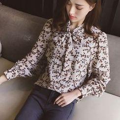 Cocofield - Floral Print Tie Neck Shirt