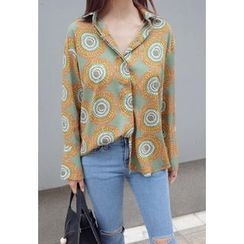 BBORAM - Hidden-Button Patterned Blouse